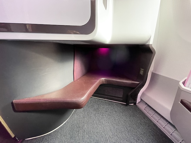The footwell of Upper Class seat 1K on the Virgin Atlantic A350